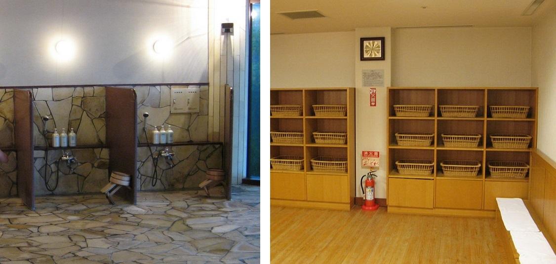 Japanese onsen shower and storage baskets